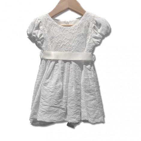 Vestido bebé para bautizo y ceremonia blanco con lazo