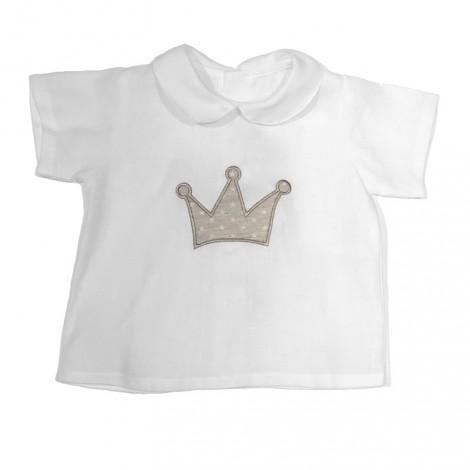 Camisa baby corona bebé blanca beige