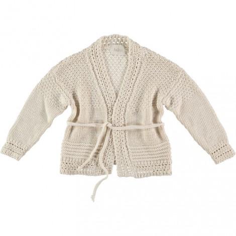 Jersey cardigan niña SARA 100% tricot algodón crudo