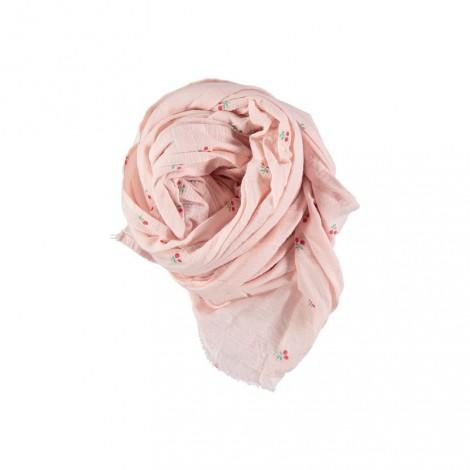 Fular niña FOULARD CERISES rosa palo flores estampadas