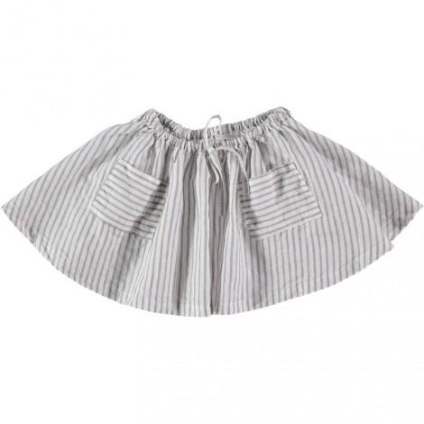 falda niña pipa con rayas lino en crudo