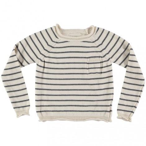Jersey infantil IKER PULLOVER algodón crudo a rayas