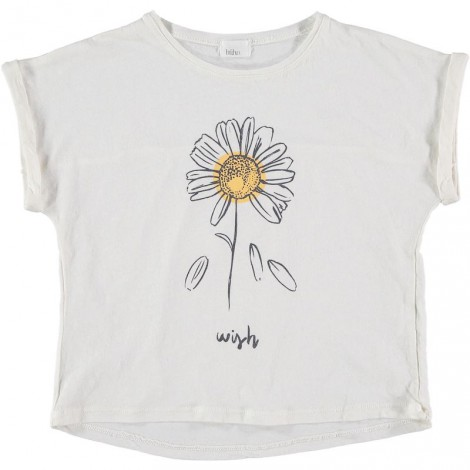 """Camiseta niña con flor NATALIE """"WISH"""" crudo"""