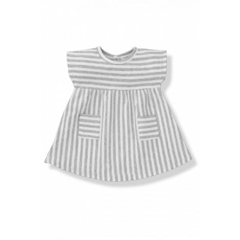 Vestido bebé bolsillos CAROL raya ancha blanco/gris