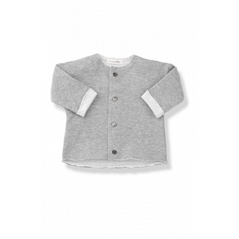 Chaqueta bebé gris CRISTINA tejido doble blanco