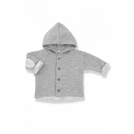 Chaqueta capucha bebé coderas DANIEL algodón gris