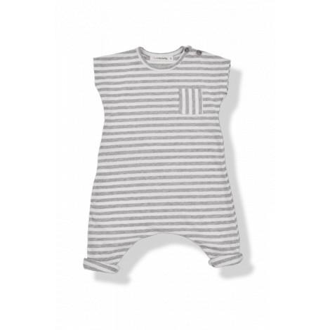 Pelele m/c bolsillo FERRAN raya ancha blanco/gris