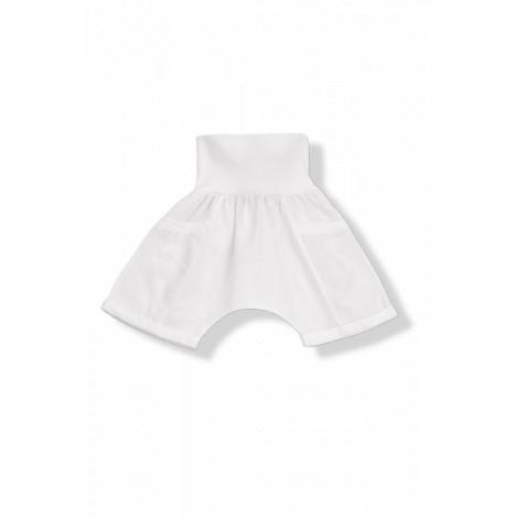 Pantalón bermuda GUIDO sarga algodón blanca