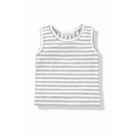 Camiseta imperio bebé HECTOR raya ancha blanco/gris