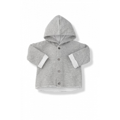 Chaqueta bebé gris capucha IGNASI tejido doble blanco