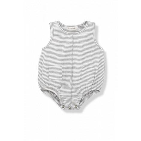 Mono bebé sin mangas LORENZO rayas blanco/gris