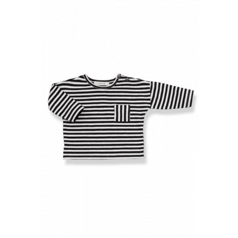 Camiseta bebé bolsillo m/l NILO raya ancha negro