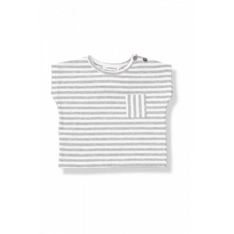 camiseta bebé bolsillo m c rob raya ancha blanco gris