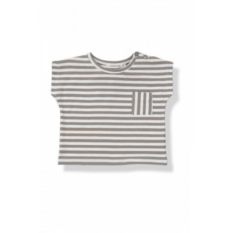 Camiseta bebé bolsillo m/c ROB raya ancha caqui