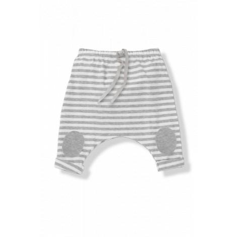 Pantalón bebé ancho rodillera SAMMY rayas blanco/gris