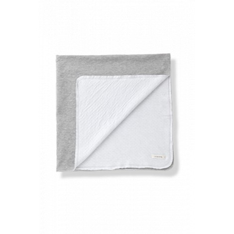 Manta bebé gris tejido doble cara TULA blanco/gris