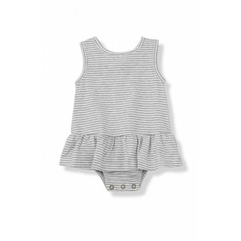 Vestido bebé volantes VIOLETA rayas blanco/gris