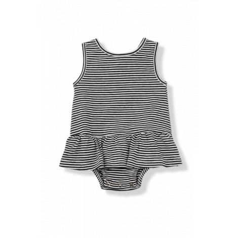 Vestido bebé volantes VIOLETA rayas negro