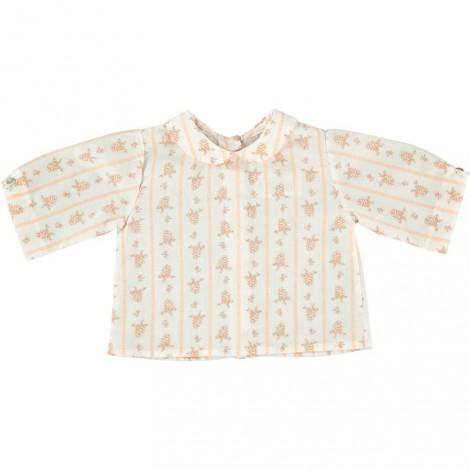 camisa bubu de bebé estampado floral salmón