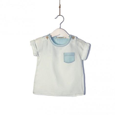 Camiseta bebé bolsillo y botones natural y denim
