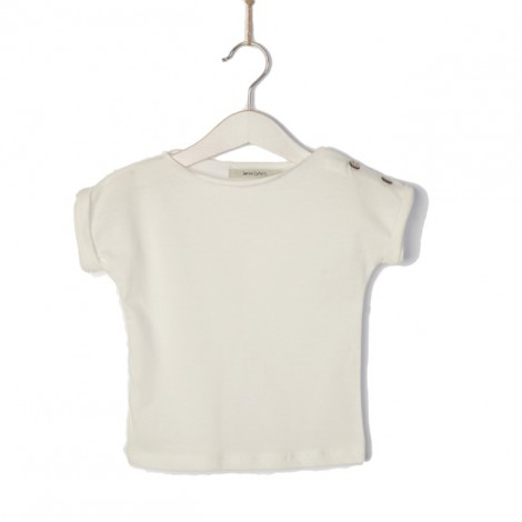 Camiseta bebé de punto en crudo botones