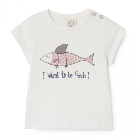 camiseta fresh fish niña en blanco
