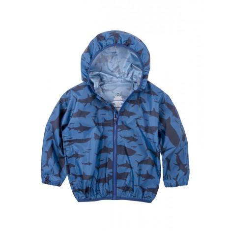 Cortavientos impermeable niño azul con TIBURONES