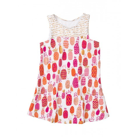 Vestido niña playero sin mangas TROPICAL PINEAPPLE
