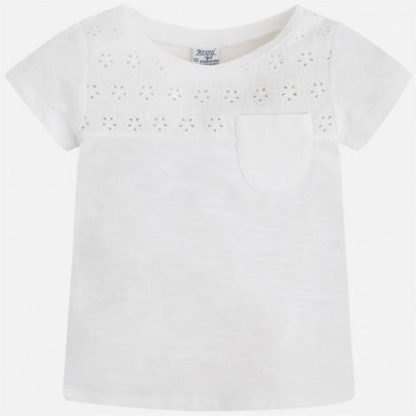 camiseta niña manga corta bordado color crudo