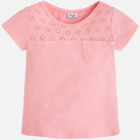 Camiseta niña manga corta bordado color Flamingo