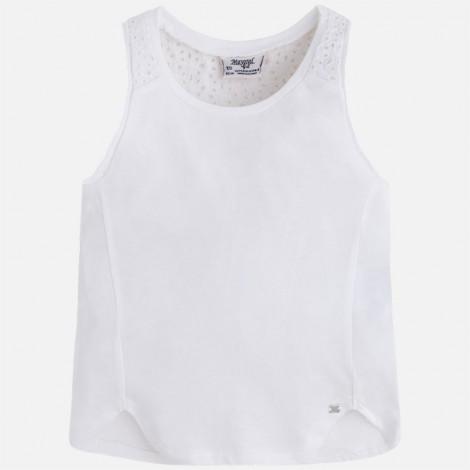 camiseta niña tirantes bordado color blanco