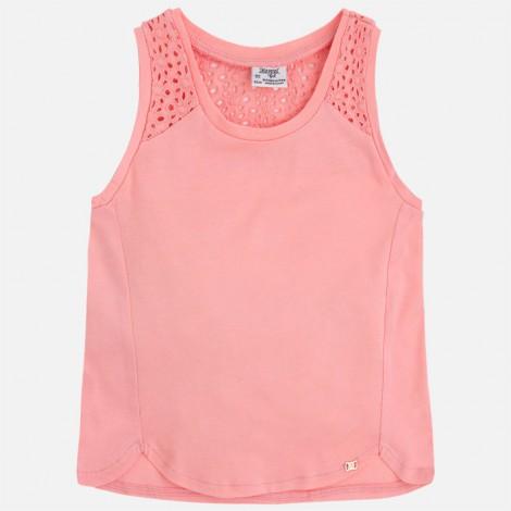 Camiseta niña tirantes bordado color Flamingo
