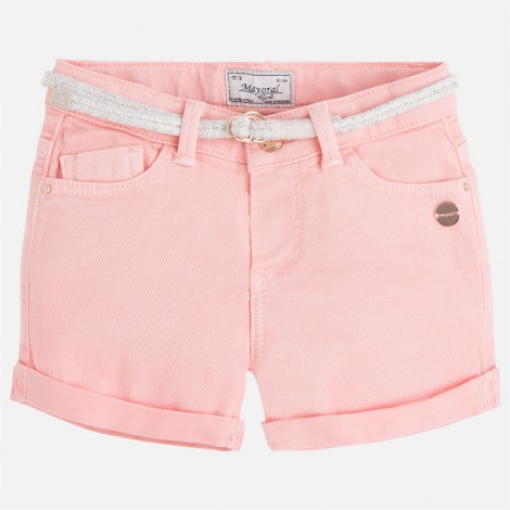 Short de niña bajo con vuelta color Flamingo