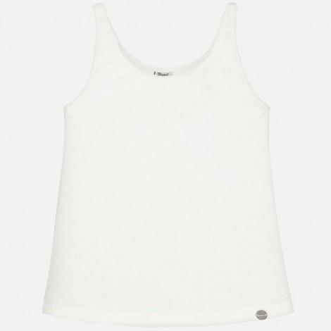Camiseta niña tirantes pespunte color Crudo