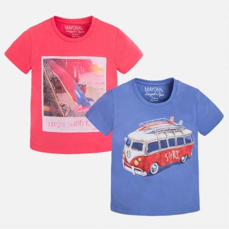 Set 2 camisetas niño m/c lisas color Sandía