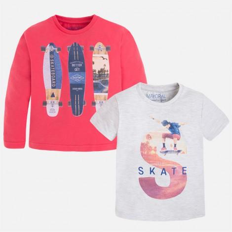 Set 2 camisetas niño m/l m/c lisas color Sandía