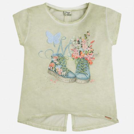Camiseta niña m/c zapatillas color Laurel