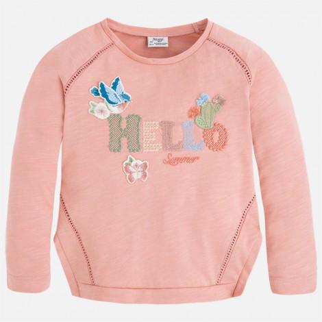 Camiseta niña m/l hello color Rosado