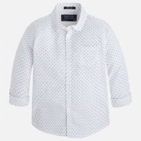 Camisa niño m/l estampada slim fit color Blanco