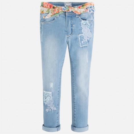 pantalón largo niña tejano bordado color bleached