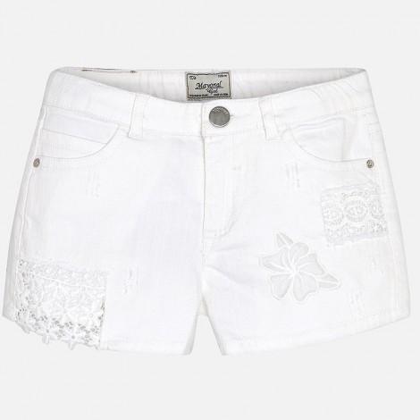 Short niña sarga parches color Blanco