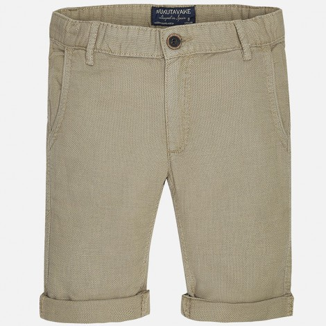 Pantalón corto bolsillos ojal de niño color Arena