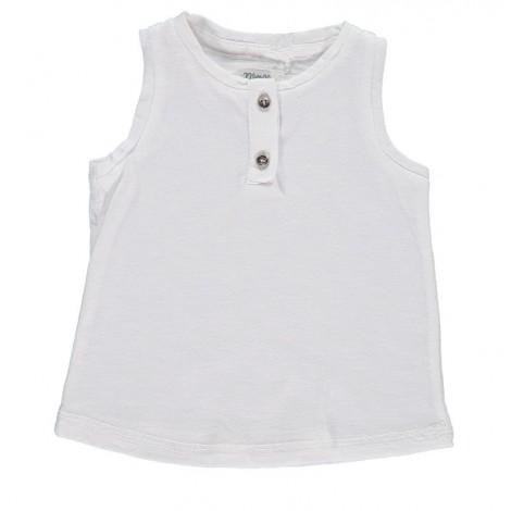 Camiseta bebé sin mangas IMPER punto algodón blanco