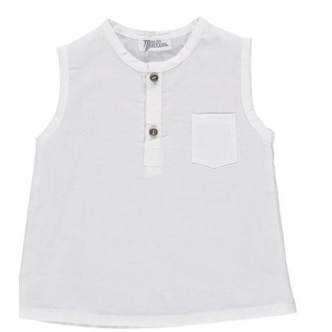 Camisa bebé sin mangas IMPER blanca algodón