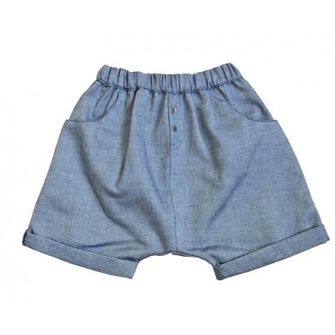 Pantalón bebé BAGGY CORTO algodón azul suave