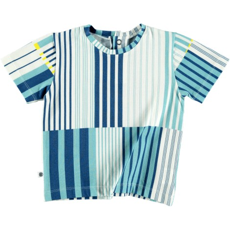Camiseta infantil M/C BASIC SEA WAVES rayas azules