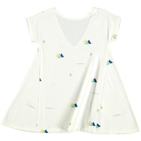 Vestido niña TRIANGLE DRESS MOUNTAINS blanco geométrico