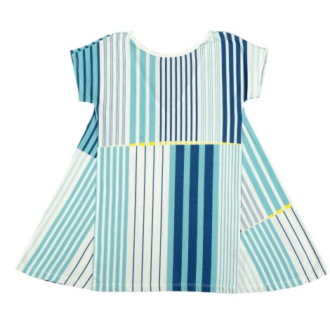 Vestido niña TRIANGLE DRESS SEA WAVES rayas azules