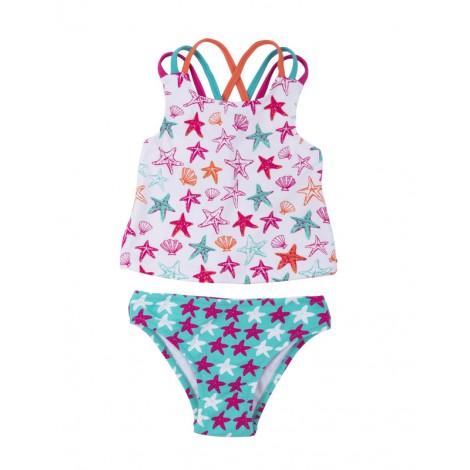 Bikini niña rosa con lycra tirantes STAR FISH