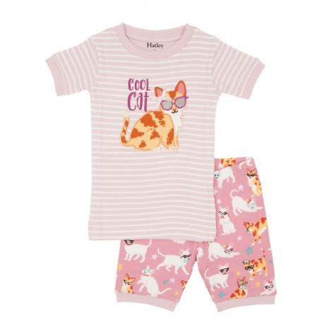 Pijama niña 2 piezas M/C COOL CAT rosa algodón